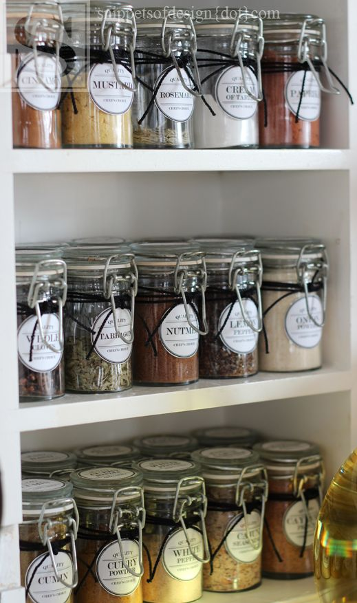 DIY Spice Cabinet Facelift & Free Printable Labels. It's attractive, even though I probably won't do it...