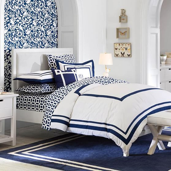 Suite Organic Duvet Cover, Royal Navy