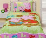 Peppa Pig 'Muddy Puddles' Single Quilt Cover Set | Kids Character Clothing, Bedding and Accessories | Cooldudes Kids Australia