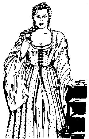 Irish Leine Traditional   Traditional open-front gown with sleeveless bodice, worn over a leine ...