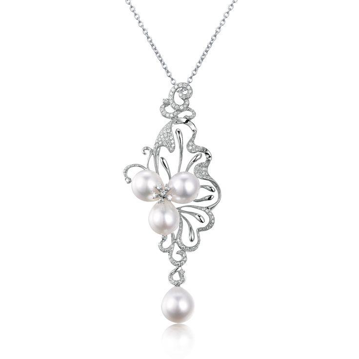 White Southsea Pearl Diamond Brooch 18KW