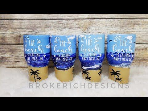 5 Beach Tumbler Using Acrylic Paints Youtube Tumbler