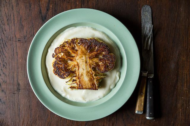 // gorgeous and delicious > Dan Barber's Cauliflower Steaks with Cauliflower Purée