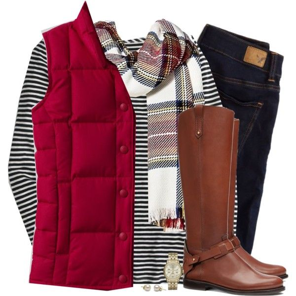 Red down vest, tartan scarf & striped top by steffiestaffie on Polyvore featuring J.Crew, Lands' End, American Eagle Outfitters, Tory Burch, Michael Kors and Merona