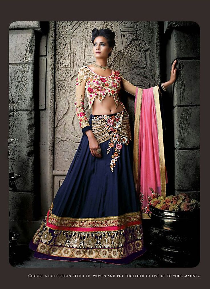 Women's Pretty A Line Lehenga Style in Royal Blue Color With Crystals Work Dupatta - QWTJ075101A2E | Indian Trendz