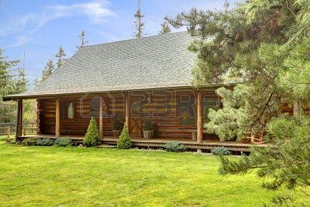 Cavallo vecchia fattoria rustica log esterno cabina. Archivio Fotografico - 14295746