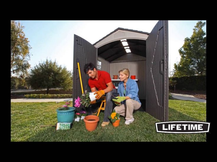 the lifetime x outdoor storage shed features full length skylight shatter proof polycarbonate window screened vents and a limited warranty