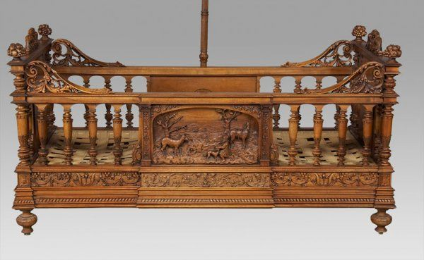 Lot:203: A. Dubois carved walnut infant bed with canopy, Lot Number:203, Starting Bid:$2500, Auctioneer:Dallas Auction Gallery, Auction:203: A. Dubois carved walnut infant bed with canopy, Date:12:00 PM PT - Sep 10th, 2008