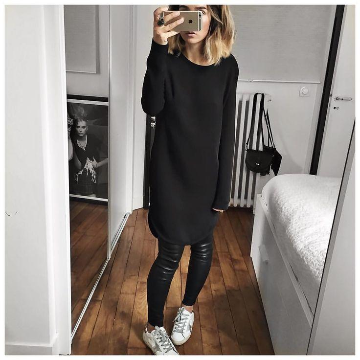Audrey sur Instagram : Bonne soirée! • Dress Robyn #designerremix (from @designersremix) • Perfecto Leather Pant (on @cyrielleforkure) • Sneakers #goldengoose (on @shoescribe) ...