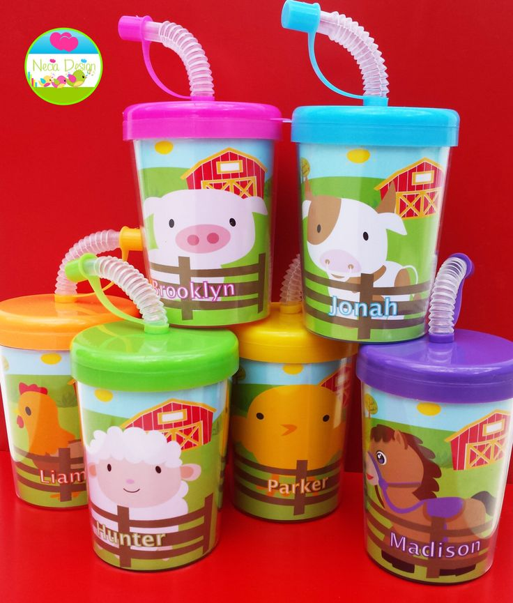 Farm Animals Personalized Party Favor Cups Set of 6, Animals, Party Favors, Pig, Sheep, Chick, Rooster, Horse, Cow by NeciaDesign on Etsy https://www.etsy.com/listing/252140914/farm-animals-personalized-party-favor