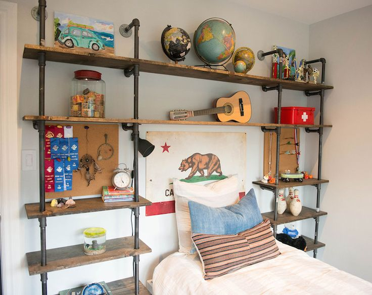 eclectic boy 39 s bedroom features an industrial pipe and. Black Bedroom Furniture Sets. Home Design Ideas