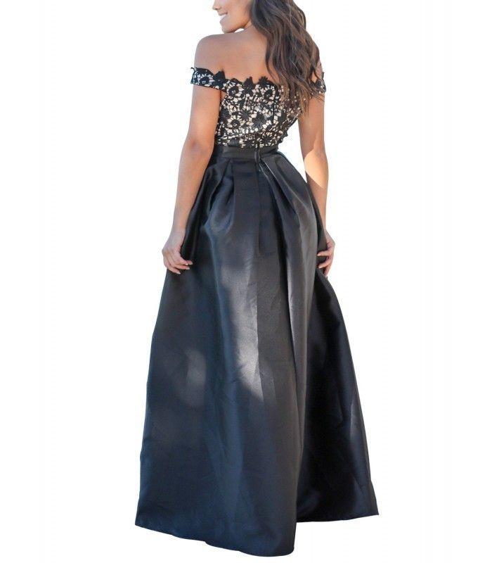Black Crochet Top Pleated Waist Flared Maxi Evening Dress