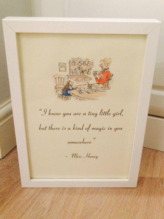 Matilda Book Roald Dahl Vintage Style Quote Art Print Unframed Gift Nursery Home