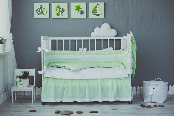 Green White crib bedding set Sea Dreams - Nautical baby nursery bedding, sheet…
