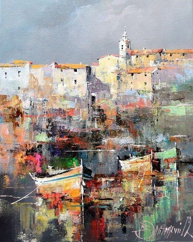 'Croatian Coast' painting by Branko Dimitrijevic, Serbia.   'Хорватское…