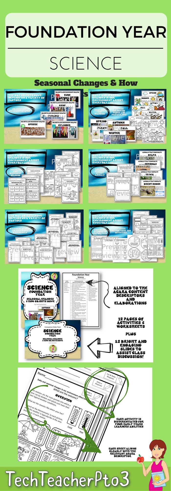 Contained in this pack is EVERYTHING you need to teach two of the content descriptors for Foundation Year Science to meet the Australian Curriculum Standards (ACARA): • Daily and seasonal changes in our environment affect everyday life • The way objects move depends on a variety of factors, including their size and shape Part One of this pack is available here Science Foundation Year Part One Living Things Have Needs & Material Properties In this pack you will find 92 pages of activities…