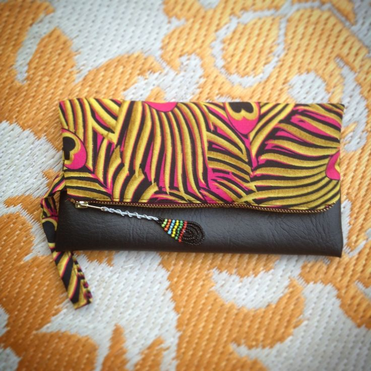Fold Over Clutch Bag - Pink+Yellow Peacock African Wax Print with Black Faux Leather Trim - Bridesmaid's Gift - (PPBL2) by ChangNoii on Etsy