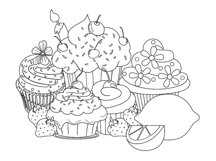 Free coloring page beautiful-sweet-cupcake-coloring-pages. Different cakes to eat... well to color !