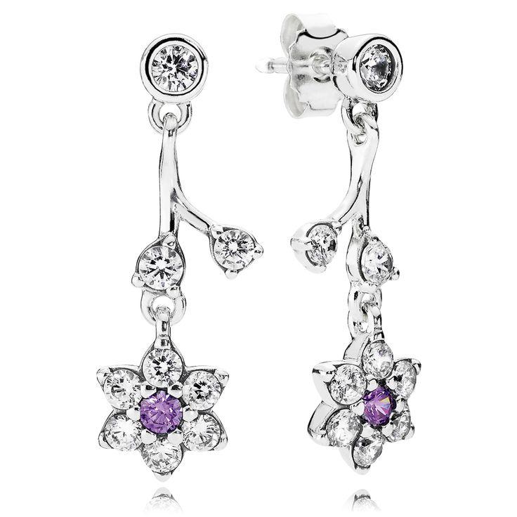 9d29f05af ... Best sale Earrings of Pandora Forget Me Not Purple Clear CZ Pandora  Jewelry - Authentic Pandora Sparkling Lace Drop ...