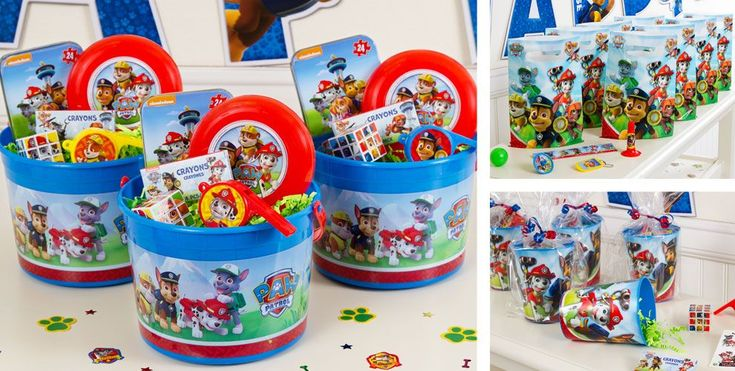PAW Patrol Party Favors…I found these buckets online at party city…added favor tags with each child's name for a personalized touch :)