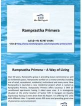 Luxury 3 BHK apartment in Ramprastha Primera at Sector 37D, Gurgaon. Call now to book your apartment.