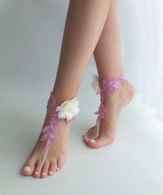 60b3223af2b8 Beach wedding barefoot sandals lilac ivory flowers wedding