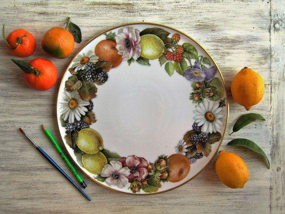 Fruit and flowers garland dessert plate hand by LaTavolozzaShop