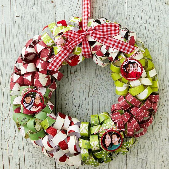 Make your own colorful wreath using scrapbook paper! Learn how here: http://www.bhg.com/christmas/wreaths/christmas-wreaths/?socsrc=bhgpin100512curledribbonwreath#page=6