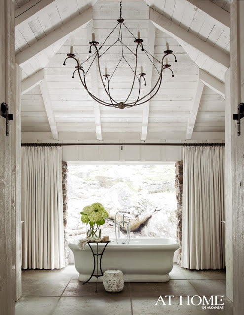 Ceiling chandelier bathroom vaulted ceiling with for Vaulted ceiling exposed beams