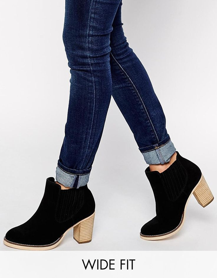 Image 1 ofASOS EACH AND EVERY DAY Wide Fit Suede Ankle Boots