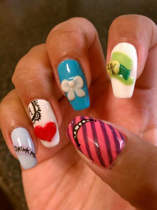 Alice in Wonderland 3D calgel nail art design. Right hand.