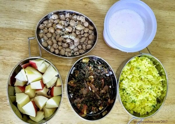 Lunchbox ideas 2: For day 2 short break we have diced apple and groundnut sundal. And for lunch- lemon rice, amaranth stirfry and strawberry lassi