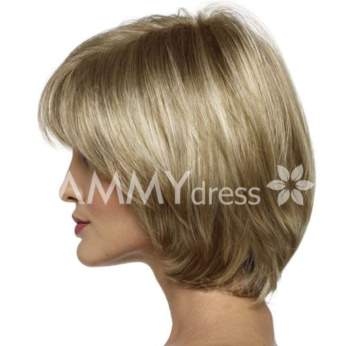 Shaggy Flax Mixed Blonde Ladylike Short Side Bang Capless Stunning Straight Synthetic Wig For Women