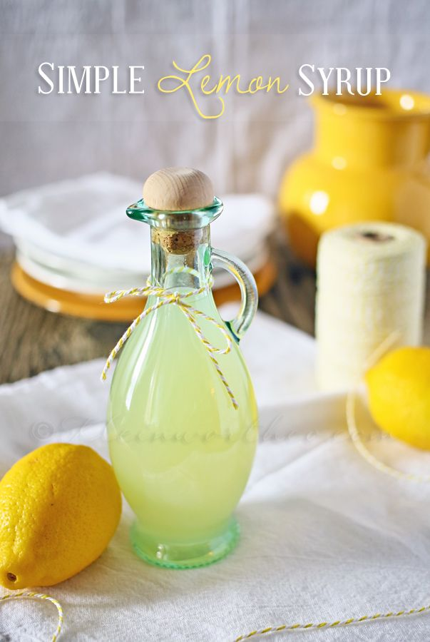 Simple Lemon Syrup: 1 cup granulated sugar 1 cup water 1-1/2 cups fresh lemon juice In small saucepan - combine water & sugar. Bring to a boil & then reduce heat & simmer 3-5 minutes - stirring constantly Remove from heat & allow to cool to room temperature. Add in lemon juice & stir well Transfer to sterilized bottles Refrigerate - keeps indefinitely