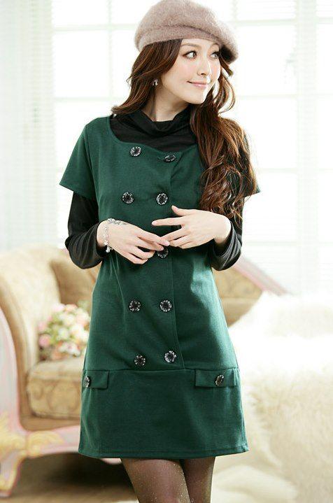 Vestido verde tipo abrigo