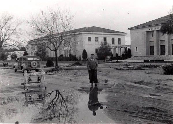 Canoga Park High School after a rainstorm, 1950