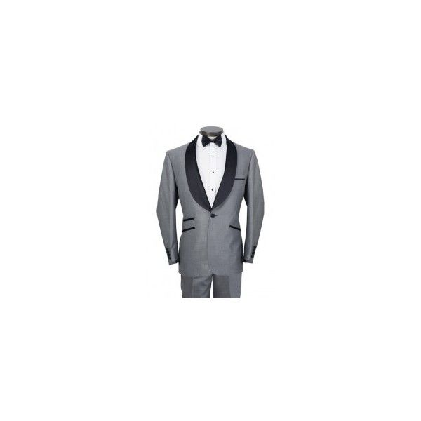 Men's Gray Tuxedo   Black Shawl Lapel   On Sale Now! ($160) ❤ liked on Polyvore featuring men's fashion, men's clothing, men's suits, mens suits, mens peak lapel suits, mens tuxedos, mens slim suits and mens dinner suits