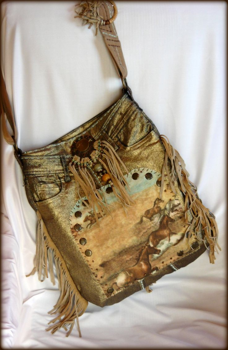 Handmade by Judy Majoros - Fringe denim-gold -denim boho bag with horses. Recycled bag. beaded-leather ringe-lace-stud
