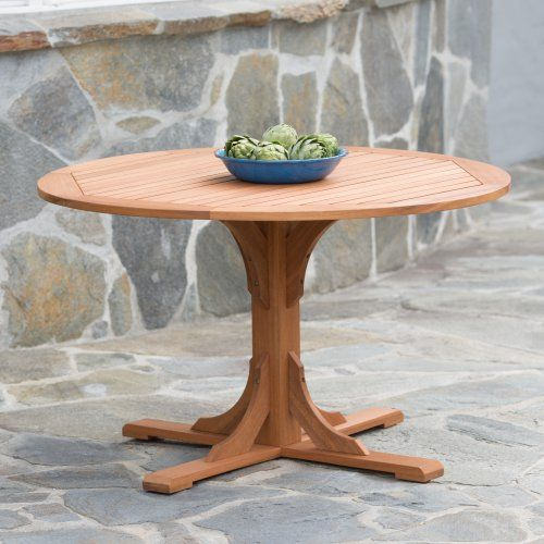 Belham Living Brighton 48 in Round Trestle Dining Table - Natural - Patio Dining Tables at Hayneedle