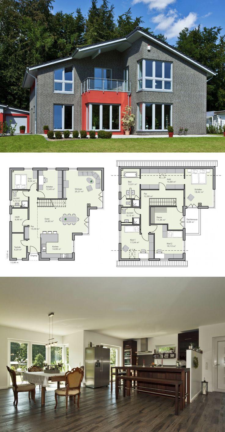 Satteldach Haus mit Garage und Klinker Fassade grau – Grundriss Einfamilienhaus Nelsen von Baumeister Haus Massivhaus bauen – HausbauDirekt.de