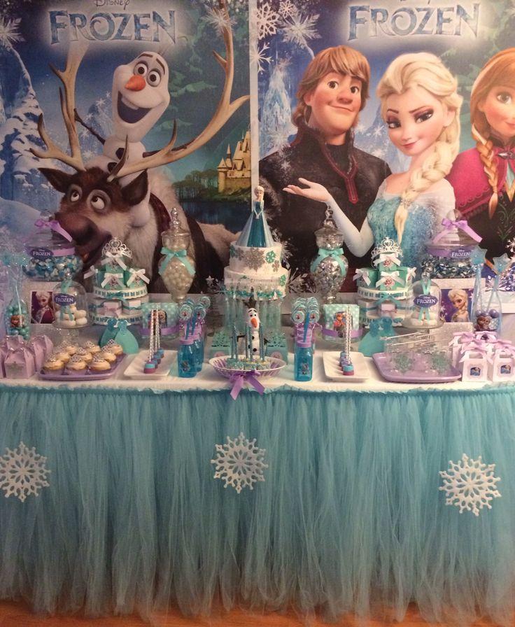 Disney Frozen candy buffet. Blue tutu table skirt. Disney Frozen party