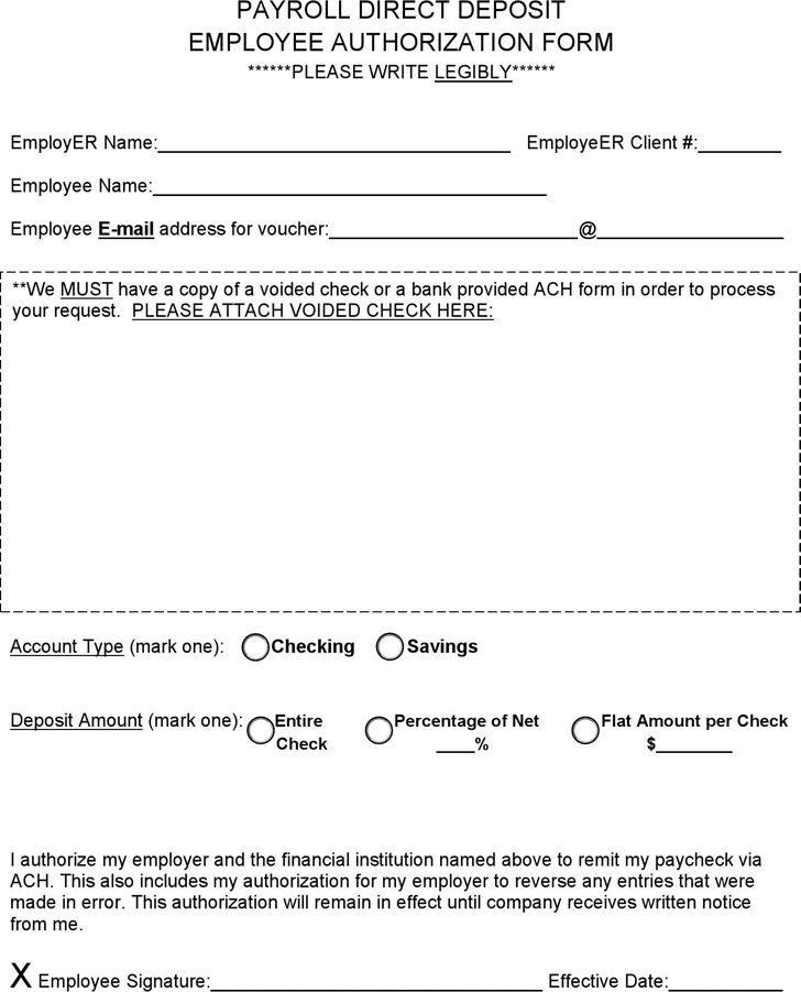 the payroll direct deposit employee authorization form can help - direct deposit forms