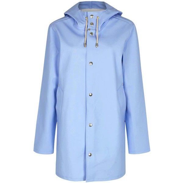 Womens Long Coats Stutterheim Stockholm Light Blue Rubberised Raincoat (804.795 COP) ❤ liked on Polyvore featuring outerwear, coats, rain coat, longline coat, long coat, blue long coat and blue raincoat