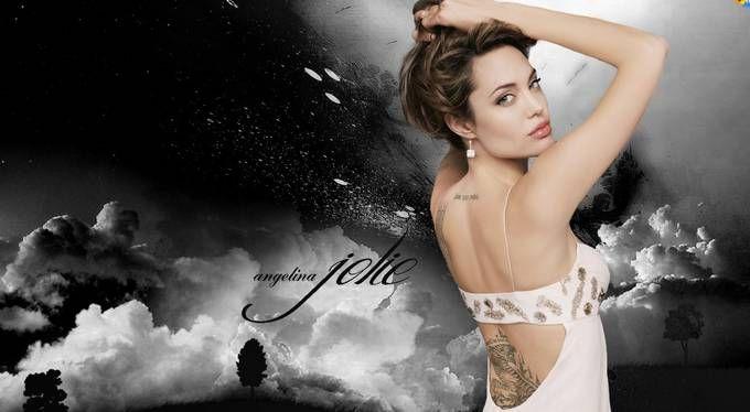 """Die Schauspielerin Angelina Jolie machte mit ihren Tätowierungen die """"Sak Yan"""" Tattoos weltberühmt. Sie lies sich in Kambodia und in Thailand """"stechen"""". Foto: Wallpaper."""