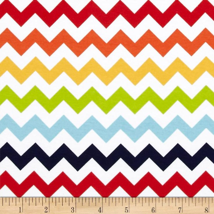Riley Blake Jersey Knit Chevron Small Rainbow from @fabricdotcom  From Riley Blake Fabrics, this lightweight stretch cotton jersey knit fabric features a smooth hand and about a 75% four way stretch for added comfort and ease. It is perfect for making t-shirts, loungewear, yoga pants and more! Colors include red, orange, yellow, lime, aqua, navy, and white.