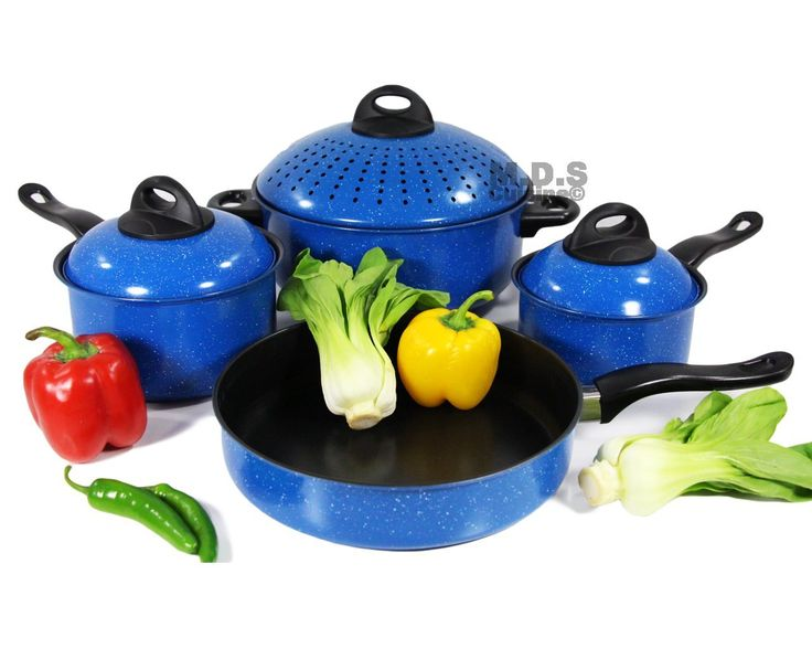 Cookware Set 7pc w/ Non-Stick Marble Coating, Easy Grip, Stay cold Handles,Metal Lids, Carbon Steel *** Learn more by visiting the image link.