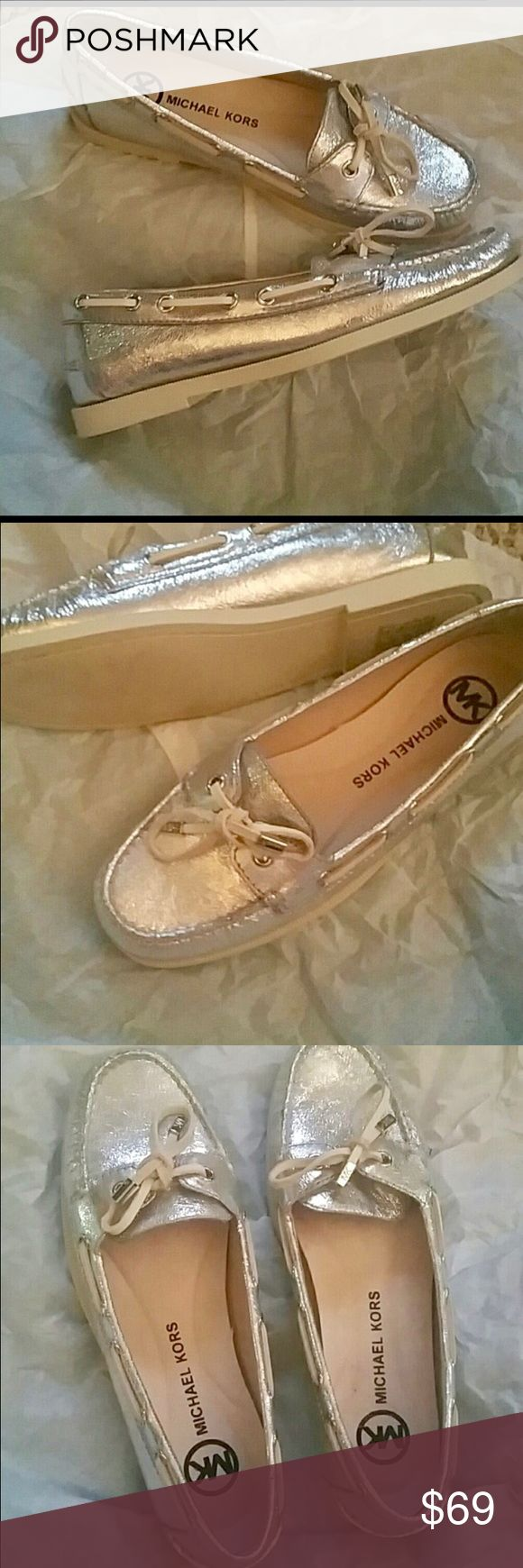 New Michael Kors Leather Tie Boat Loafers MK's glorious answer to Sherry. Really beautiful silver leather with rubber bottom Dock shoe. Pairs with any outfit. Great gift!     #Michael Kors find Michael Kors Shoes Flats & Loafers