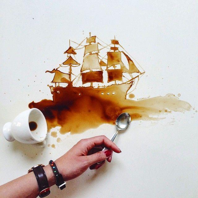 L'italienne Giulia Bernardelli utilise des taches de café et de chocolat qu'elle transforme en superbes dessins. Elle poste ses oeuvre sur Instagram où vous pouvez la suivre pour en voir plus.