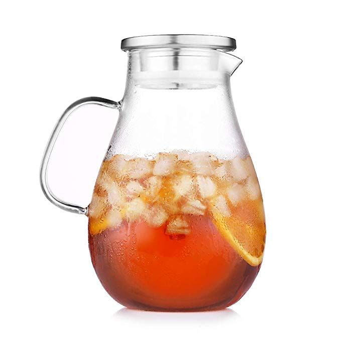 2 4 Liter Glass Water Pitcher With Lid Large Glass Iced Tea Pitcher Jug With Handle And Spout 80 Ounces For Hot Cold Li Tea Pitcher Iced Tea Pitcher Glass Tea
