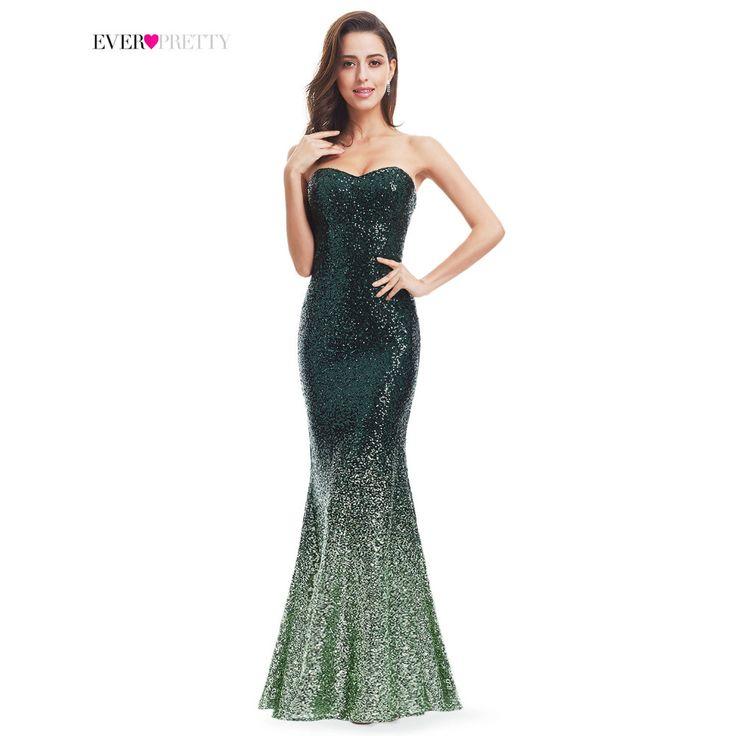 Sparkle prom dress immer hübsche frauen meerjungfrau schatz trägerlose ep07001 ombre 2017 herrliche lange pailletten party abendkleid